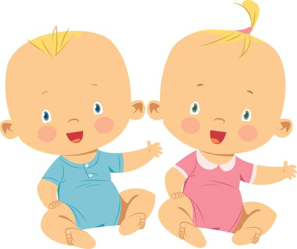 Best Twin Babies Illustrations, Royalty.