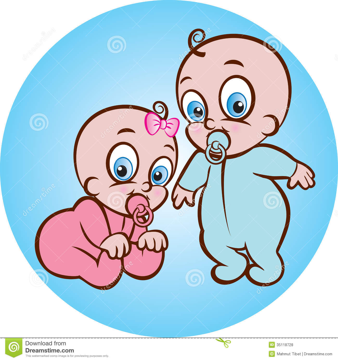Happy baby boy and girl stock vector. Illustration of little.