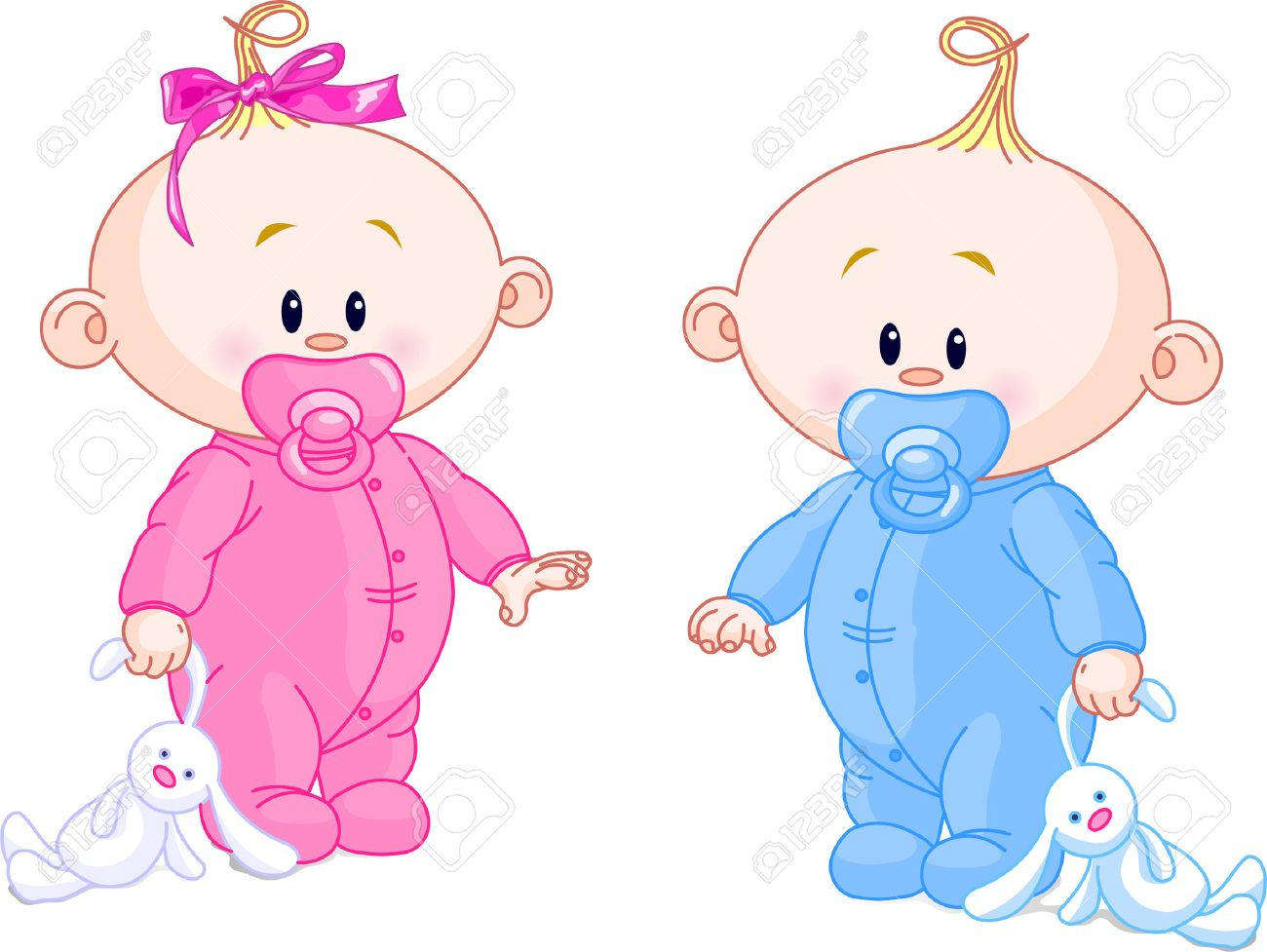 Twin Baby Boy And Girl With Pacifiers and Toys.