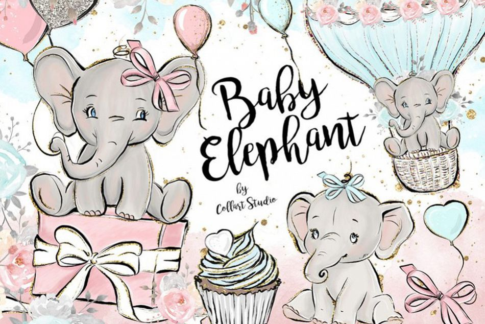 Baby Elephant clipart, Baby boy baby girl clipart, birthday.