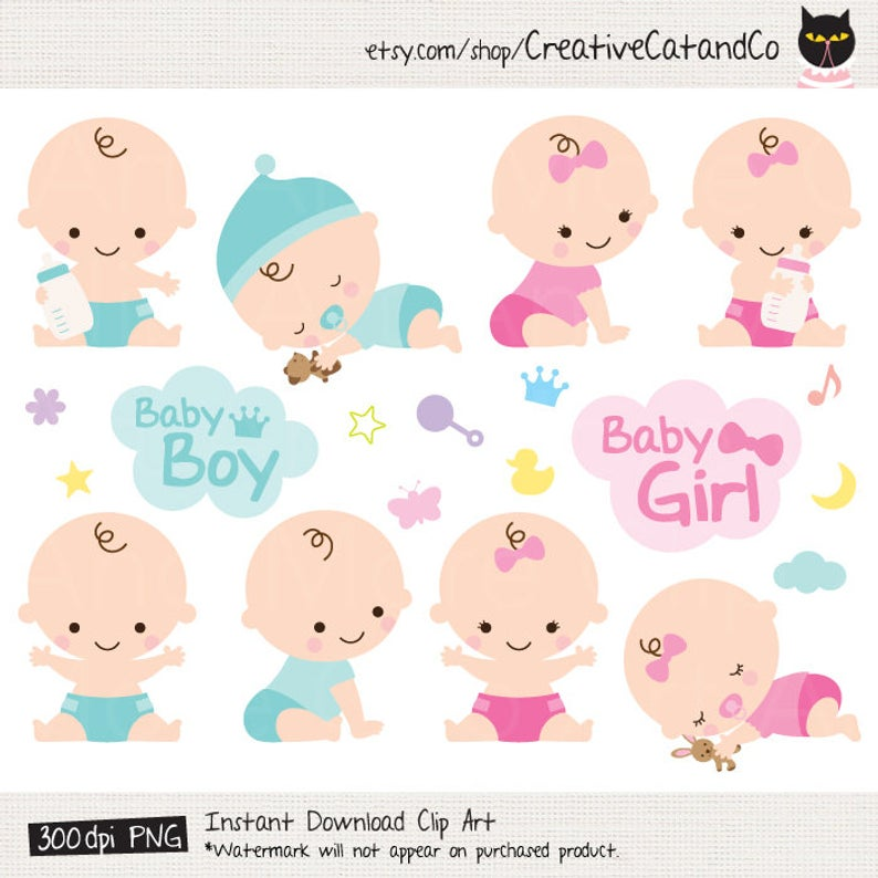 Baby Shower Clipart Clip Art Baby Boy Girl Clipart Cute Baby Clipart.