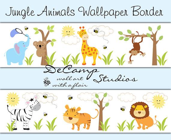 SAFARI JUNGLE ANIMAL Decal Wallpaper Border Boy Wall Art Stickers.
