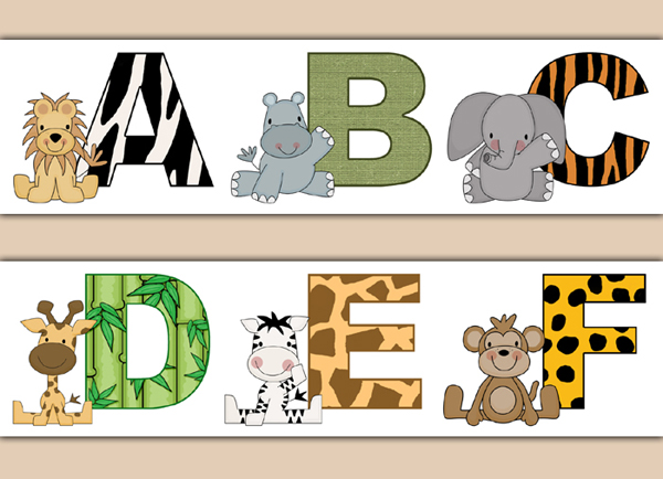 Safari Animal Alphabet Letter Wallpaper Border Wall Decal Stickers.