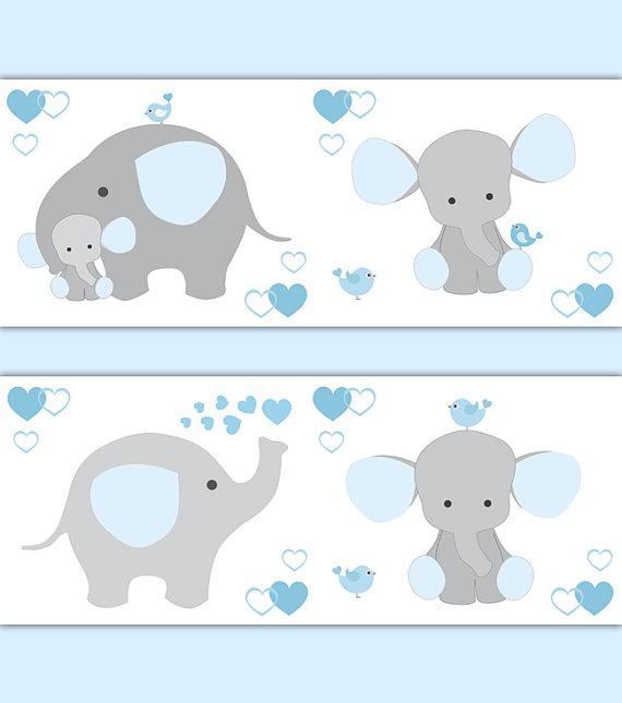 BLUE GREY ELEPHANT Nursery Baby Boy Wallpaper Border Wall Art.
