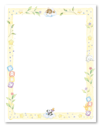 printable paper with baby borders.
