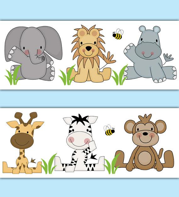 SAFARI ANIMAL WALLPAPER Border Decal Jungle Nursery Wall Stickers.
