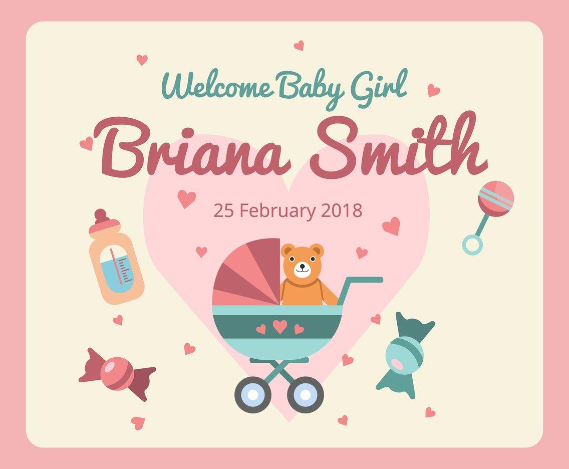 Baby Birth Announcement Vector Vector Art & Graphics.