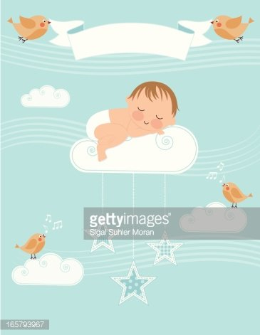 Baby Boy Birth Announcement Clipart Image.