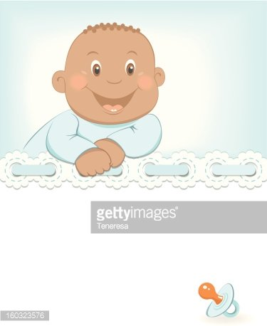 Happy African baby boy arrival announcement Clipart Image.