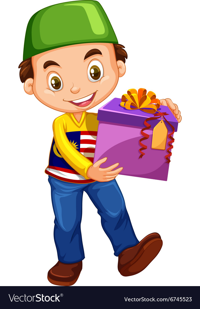 Muslim boy holding box of present.