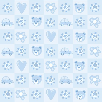 Pattern background for baby boy Clipart Image.