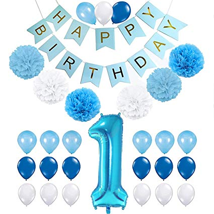 Party Port First 1st Birthday Decorations for Boys, Baby Boy 1st Birthday  Decoration Pack Includes Happy Birthday Banner, 40 Inch Blue Number One.