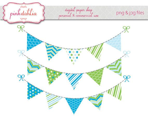 boy bunting banner clip art graphics flag banner blue green.