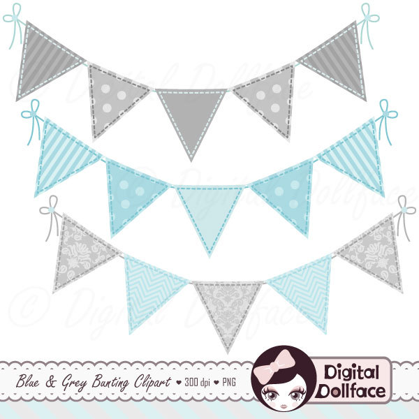 Baby Boy Bunting Clipart.
