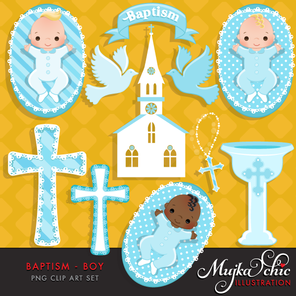 Baptism Baby Boy Clipart.