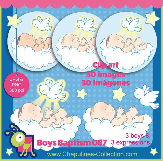 60% off Baptism, baby boys and dove clipart for favors, decorations,  invites, gifts, cards, centerpieces, Holy Spirit clipart, set 087.
