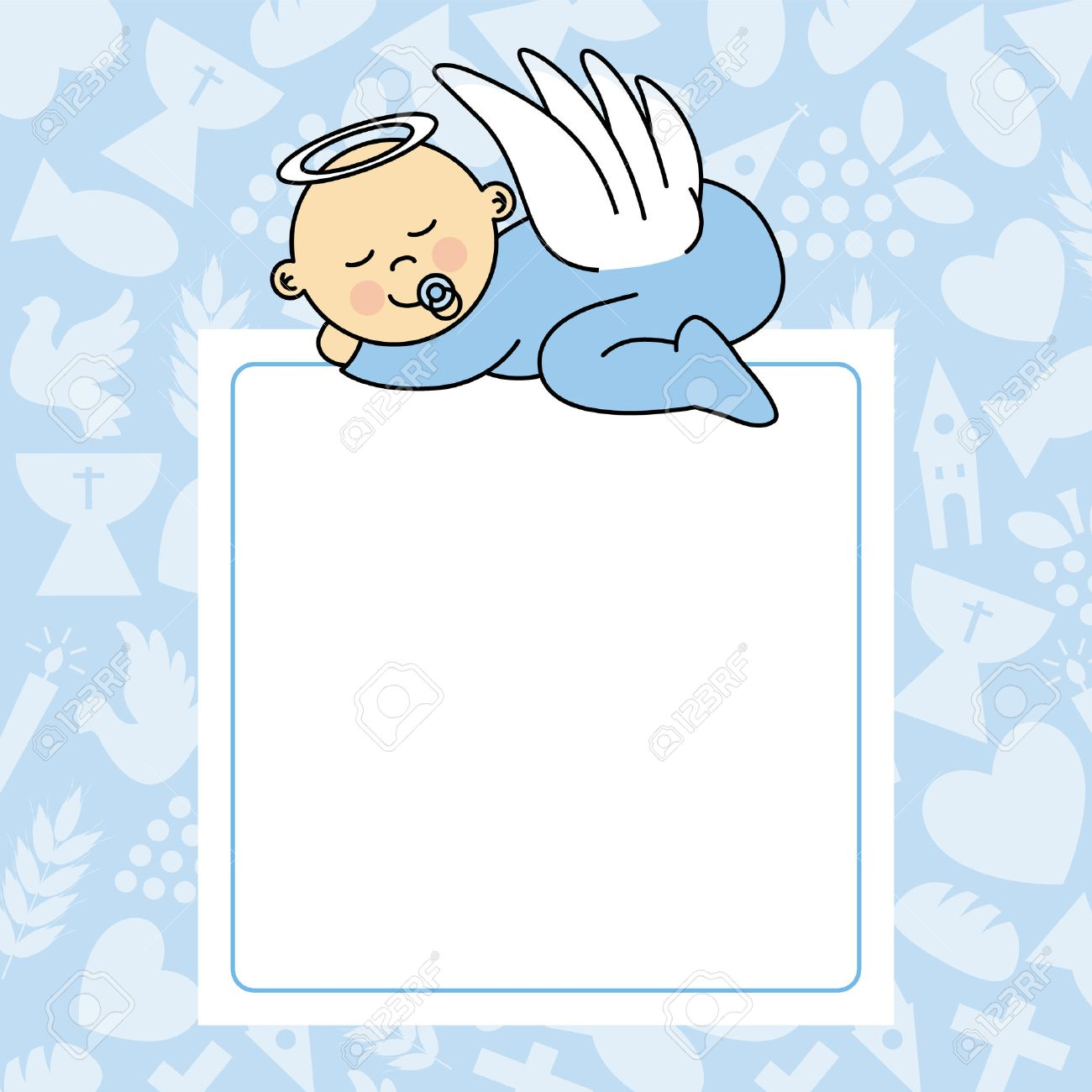 baby boy sleeping. blank space for photo or text.