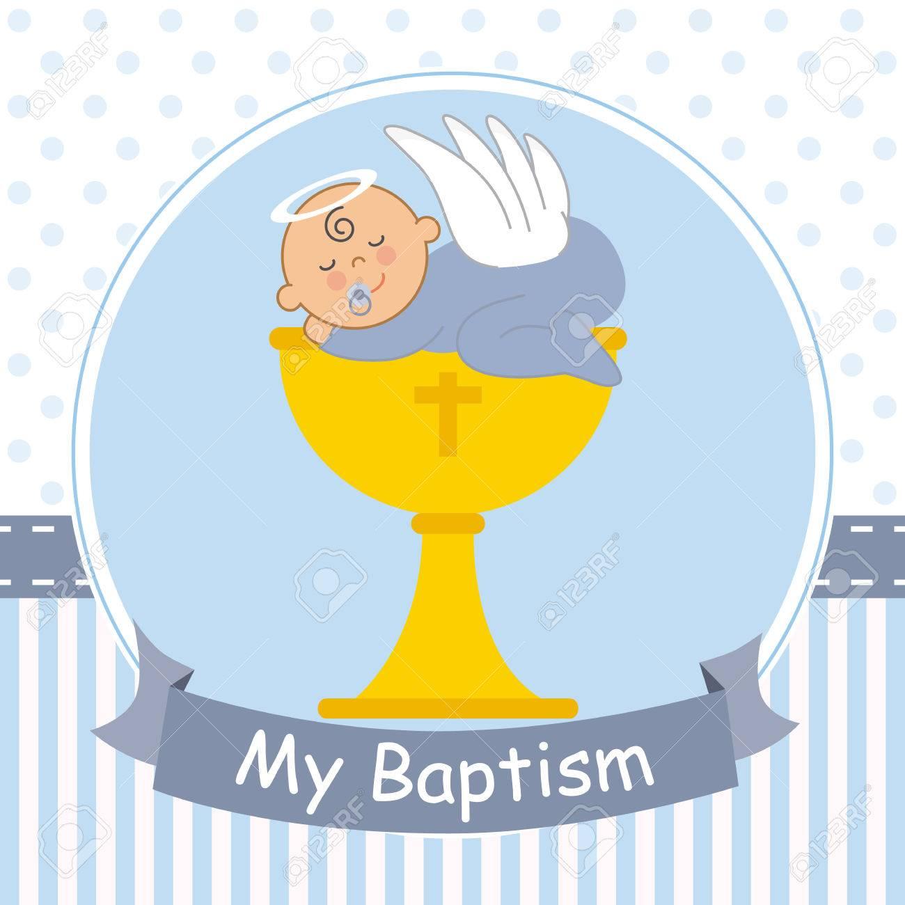 Christening card. Baby boy sleeping on top of a calyx.