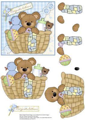 New Baby Boy Bear in Basket Decoupage.