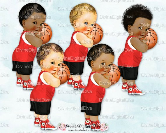 Little Prince Basketball Player Black Red White Uniform.