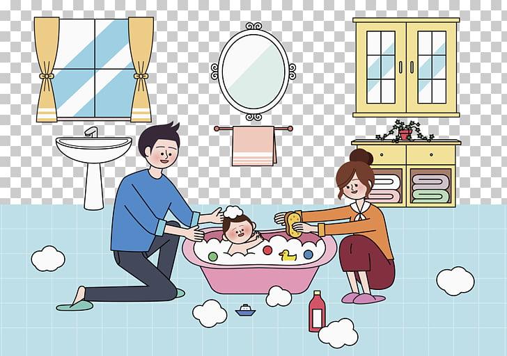 Bathing Infant Bathtub Child, Father and mother take bath.