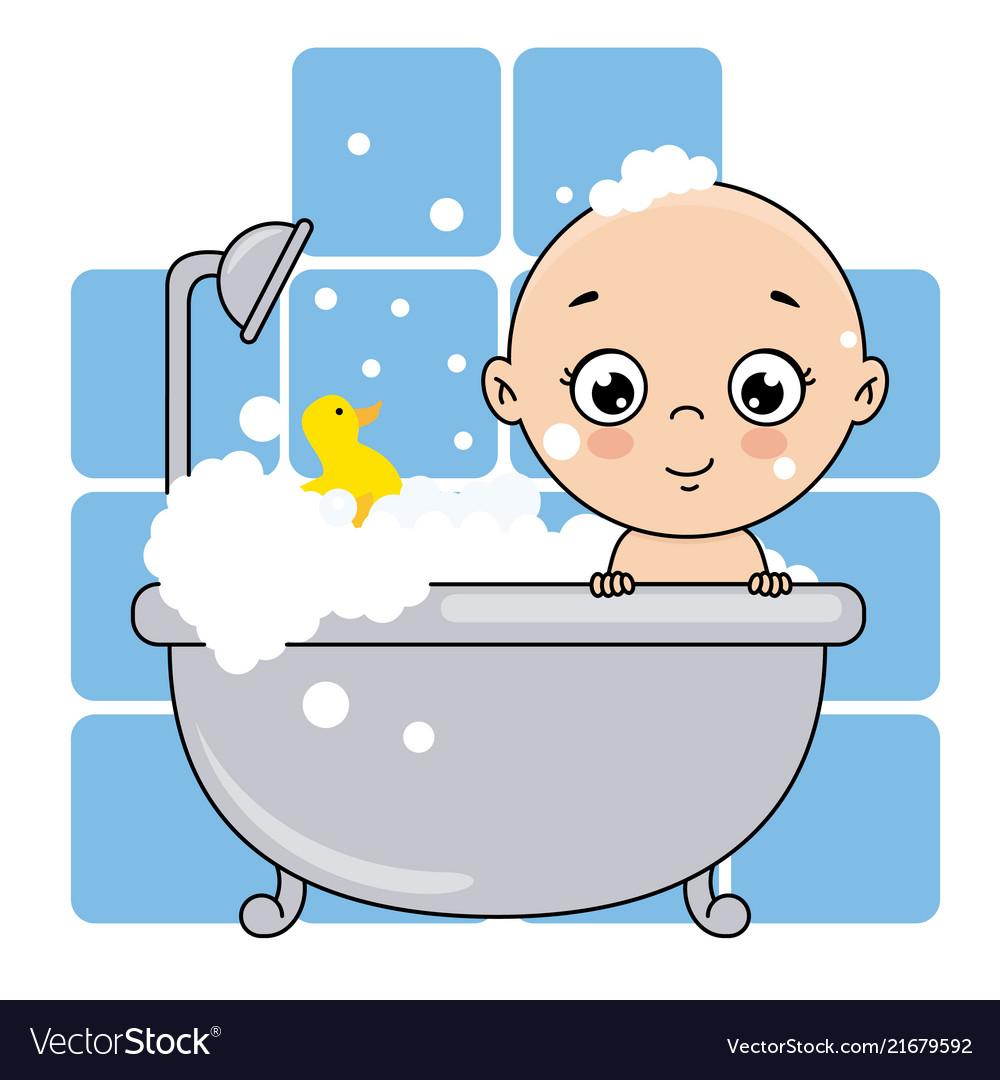 Baby boy bathing in the bathtub.