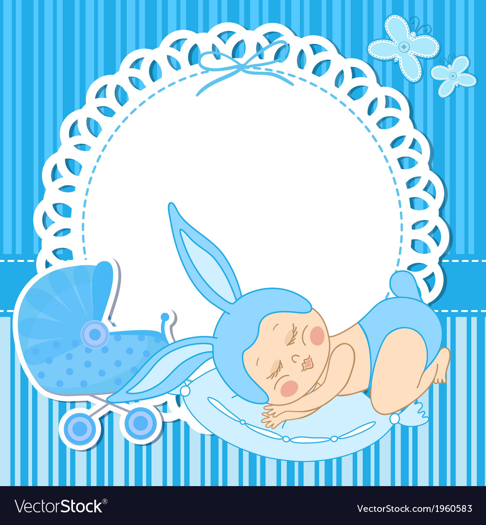 Card with baby boy born in bunny costume.