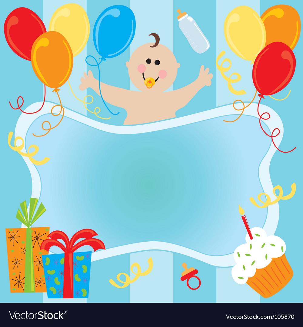 Baby boy birthday invitation.