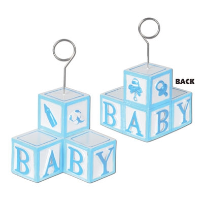 Blue Baby Blocks Photo/Balloon Holder.