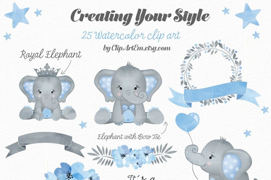 Boy Blue Gray Elephant Clipart ~ Illustrations ~ Creative Market.