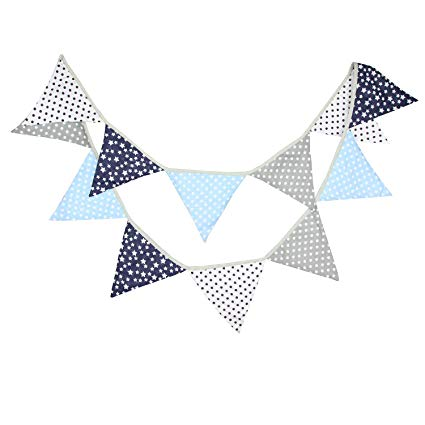 10 Feet Navy Blue Gray Nautical Party Bunting Banner for Wedding Garland  Boy Girl Baby Shower Party Backrop Kids Birthday Supplies Hanging Pennant.