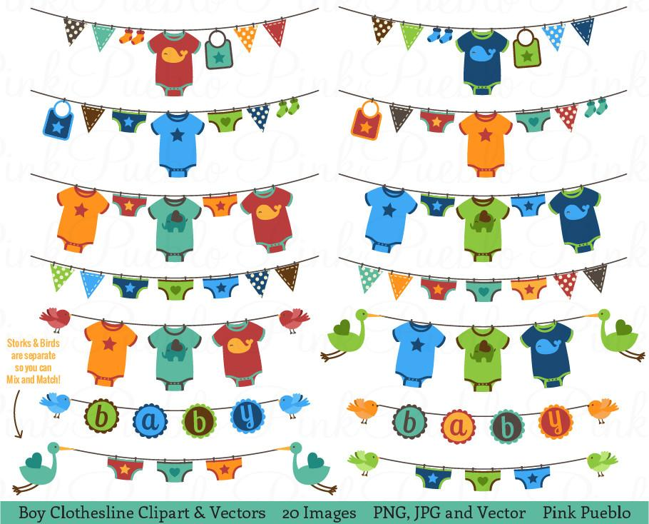 Baby Boy Bunting or Clothesline Clipart and Vectors.