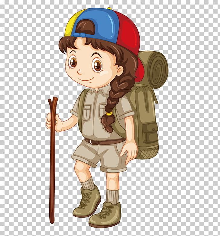 Camping Illustration, Travel girl, girl scout PNG clipart.