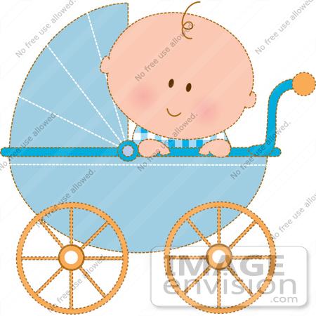 Baby Boy Stroller Clipart.