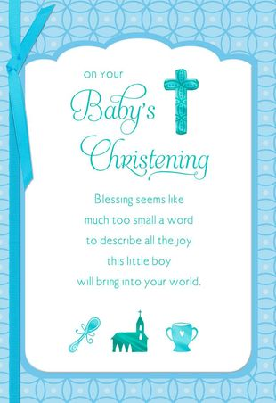 Blue Cross Baby Boy Christening Card.