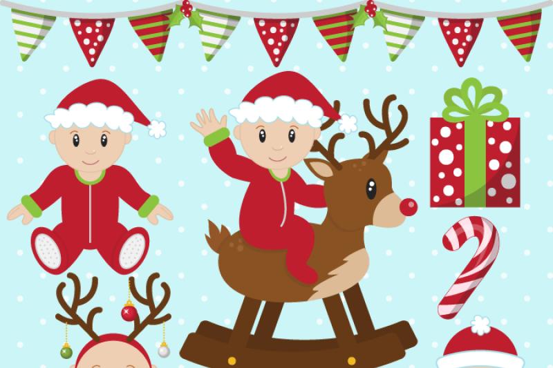 Christmas Baby Boys Clip Art By Sonya DeHart Design.