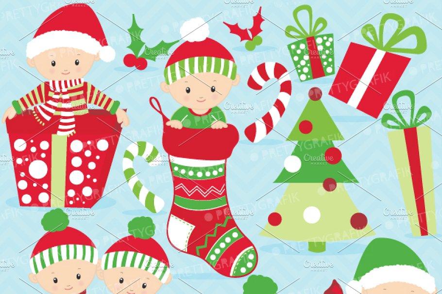 Christmas baby boy clipart ~ Illustrations ~ Creative Market.