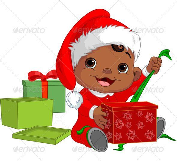 Christmas Baby Open Gift.