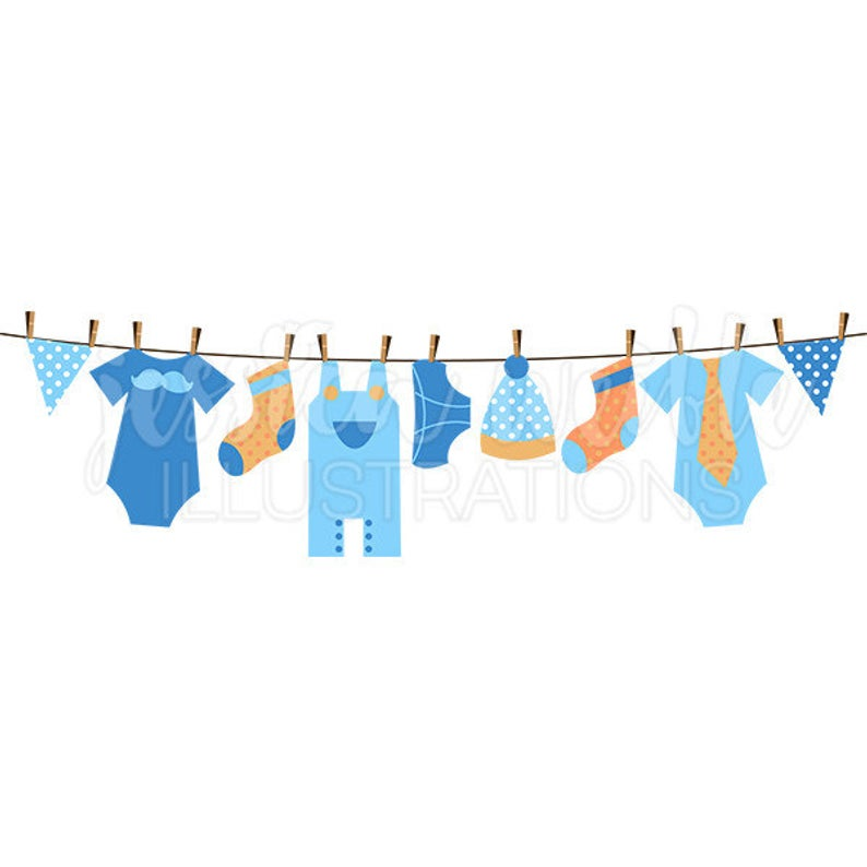 Baby Boy Clothesline Cute Digital Clipart, Boy Clothesline Clip art, Boy  Clothes Graphics, Clothesline Illustration, #084.