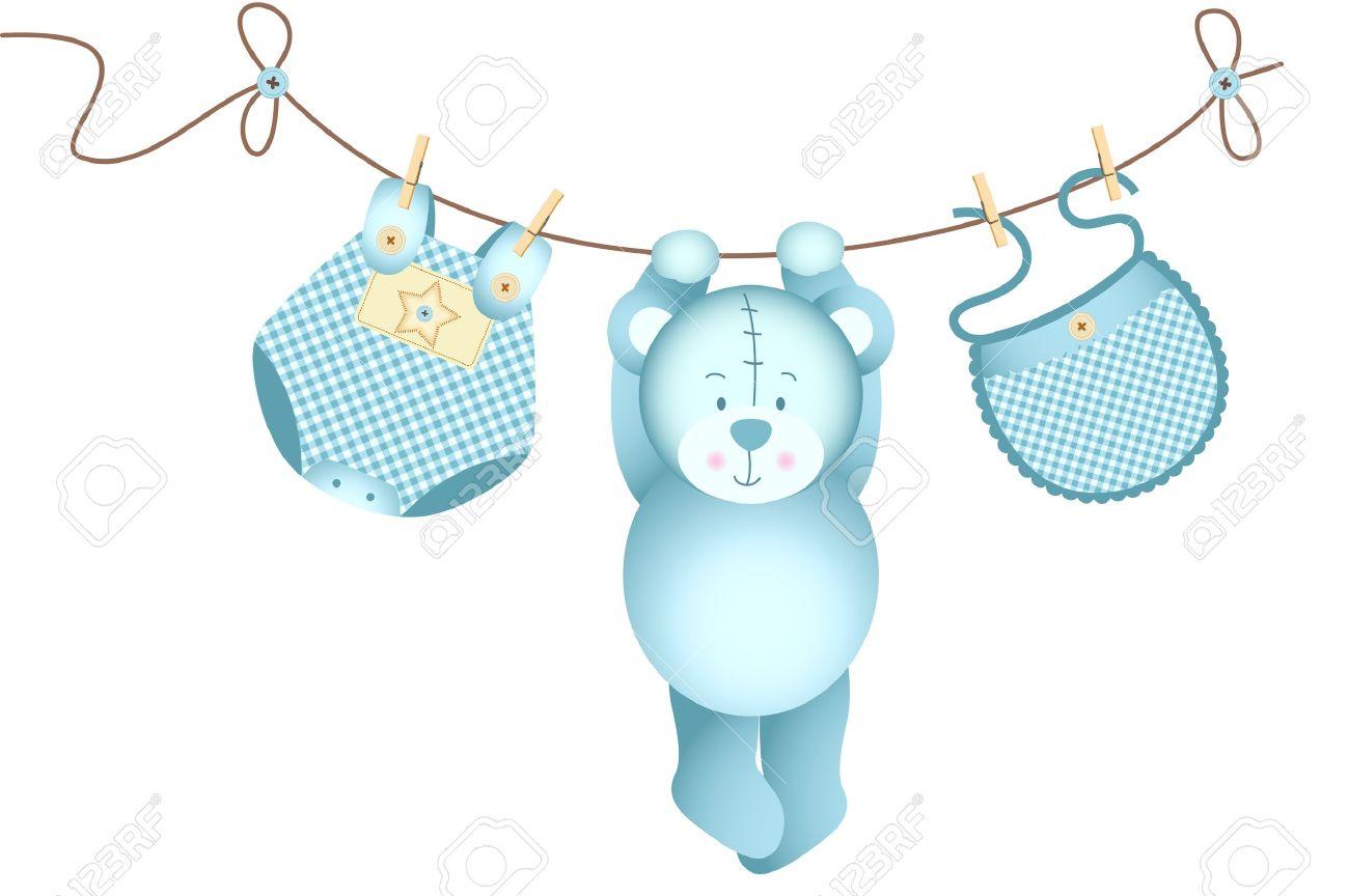 Teddy bear baby boy hanging on a clothesline.