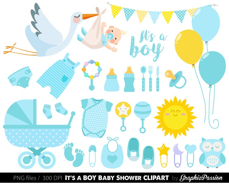 Baby Boy Clipart, Boy Baby Shower clipart, BLue Baby Clipart, Instant  Download, Banners, Teddy Bear, Sock Monkey, Baby shower clipart.