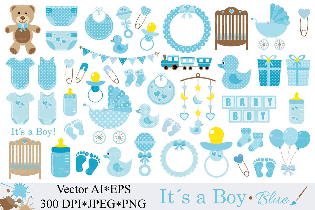 Baby Boy Clipart / Blue Baby Shower Clipart / Nursery Clip art / It`s a boy  / Graphics / Illustration / Vector.