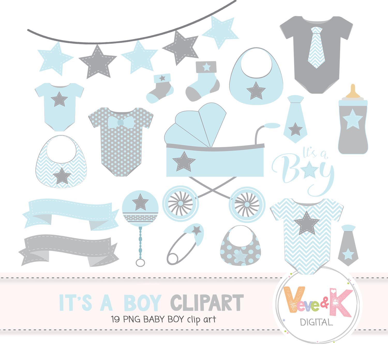 Baby Clip Art, Baby Boy Clipart, Baby Boyl Baby Shower DIY, Its a Boy, Blue  and Gray Baby Shower, Baby Shower Clipart.