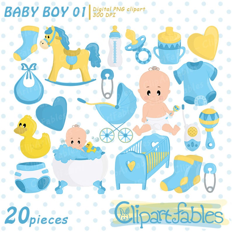Boy baby shower clipart, Baby boy clip art, Blue boy birthday party,  Digital clip art for Personal and Commercial use.