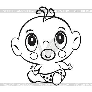 Funny baby boy. Cute baby boy sitting in diaper.