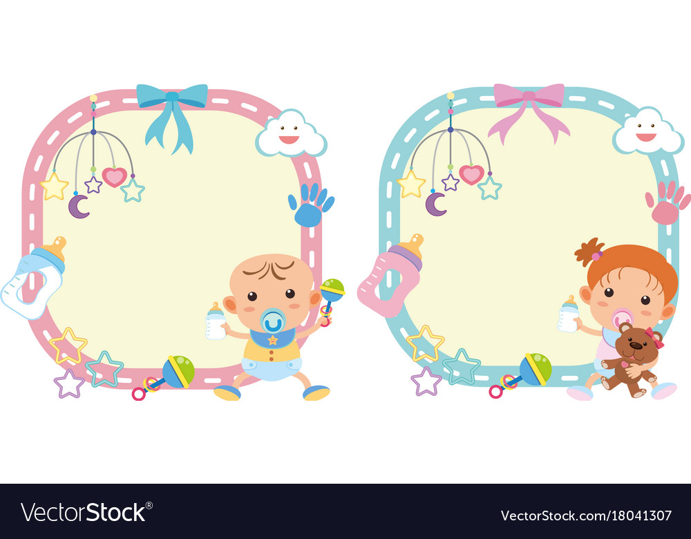 Two border template with baby boy and girl.