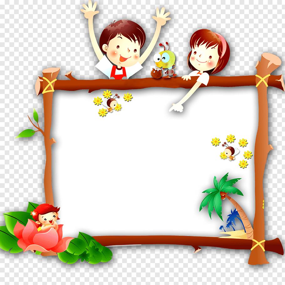 Cartoon Child, Children\'s Day Border, boy and girl cartoon.