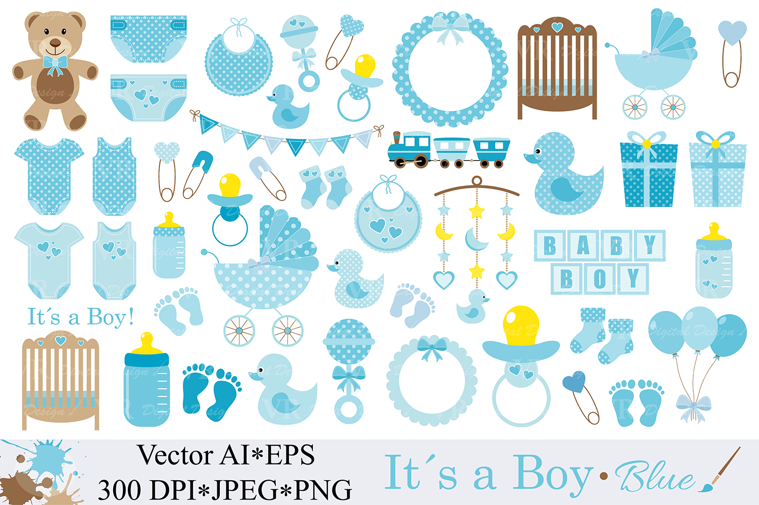 Baby Boy Clipart Blue Baby Shower Clipart Nursery Clip art It`s a boy  Graphics Illustration Vector.