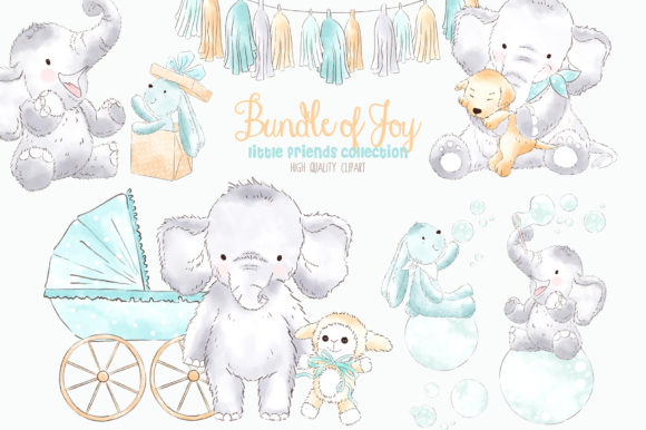 Elephant Baby Boy Watercolor Clipart.