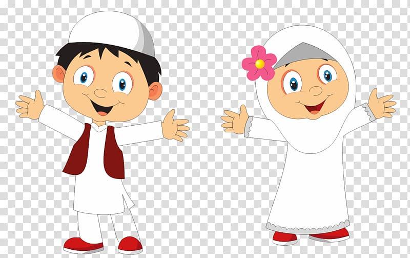 Boy and girl illustration, Muslim Islam Child, ISLAMI.